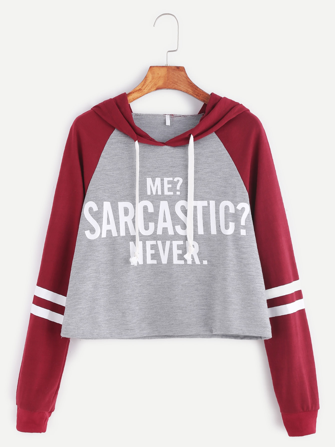 Contrast Raglan Sleeve Hooded Slogan Print Crop Sweatshirt