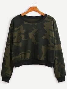 Contrast Trim Camo Print Sweatshirt