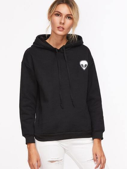 Black Alien Print Hooded Sweatshirt