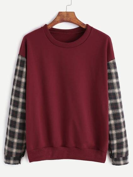 Burgundy Contrast Plaid Sleeve Sweatshirt