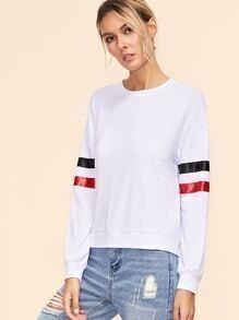 Sweat-shirt manche à rayure - blanc