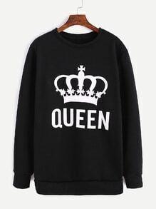 Black Imperial Crown Print Sweatshirt