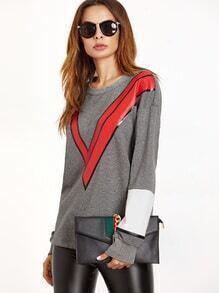 Sweat-shirt couleur bloc imprimé V