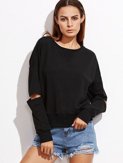 Black Drop Shoulder Open Elbow Sweatshirt
