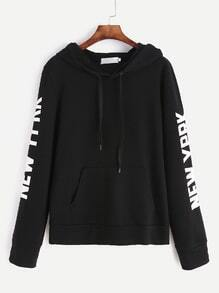 Black Letter Print Drawstring Hooded Sweatshirt