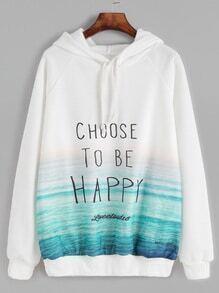 Sweat-shirt imprimé slogan manche raglan avec capuche - blanc