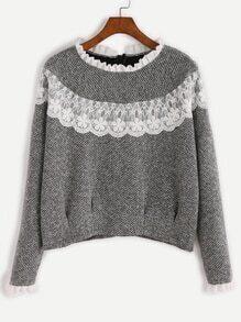 Grey Contrast Lace Ruffle Trim Sweatshirt
