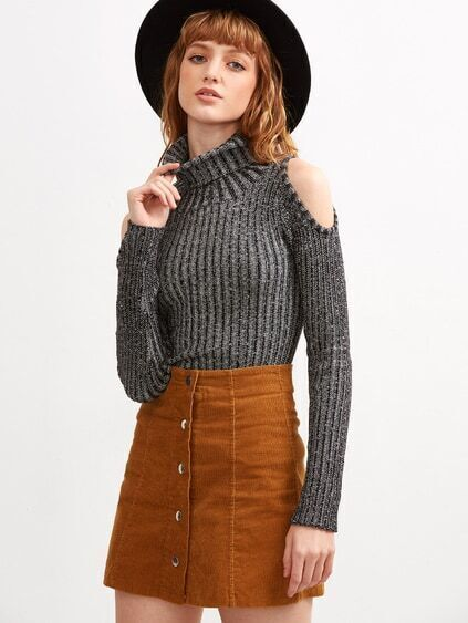 Black Ribbed Detail Turtleneck Sweater