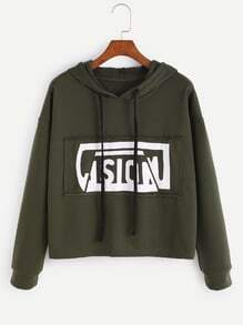 Army Green Letter Print Drawstring Hooded Sweatshirt