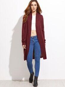 Burgundy Mixed Knit Shawl Collar Cardigan