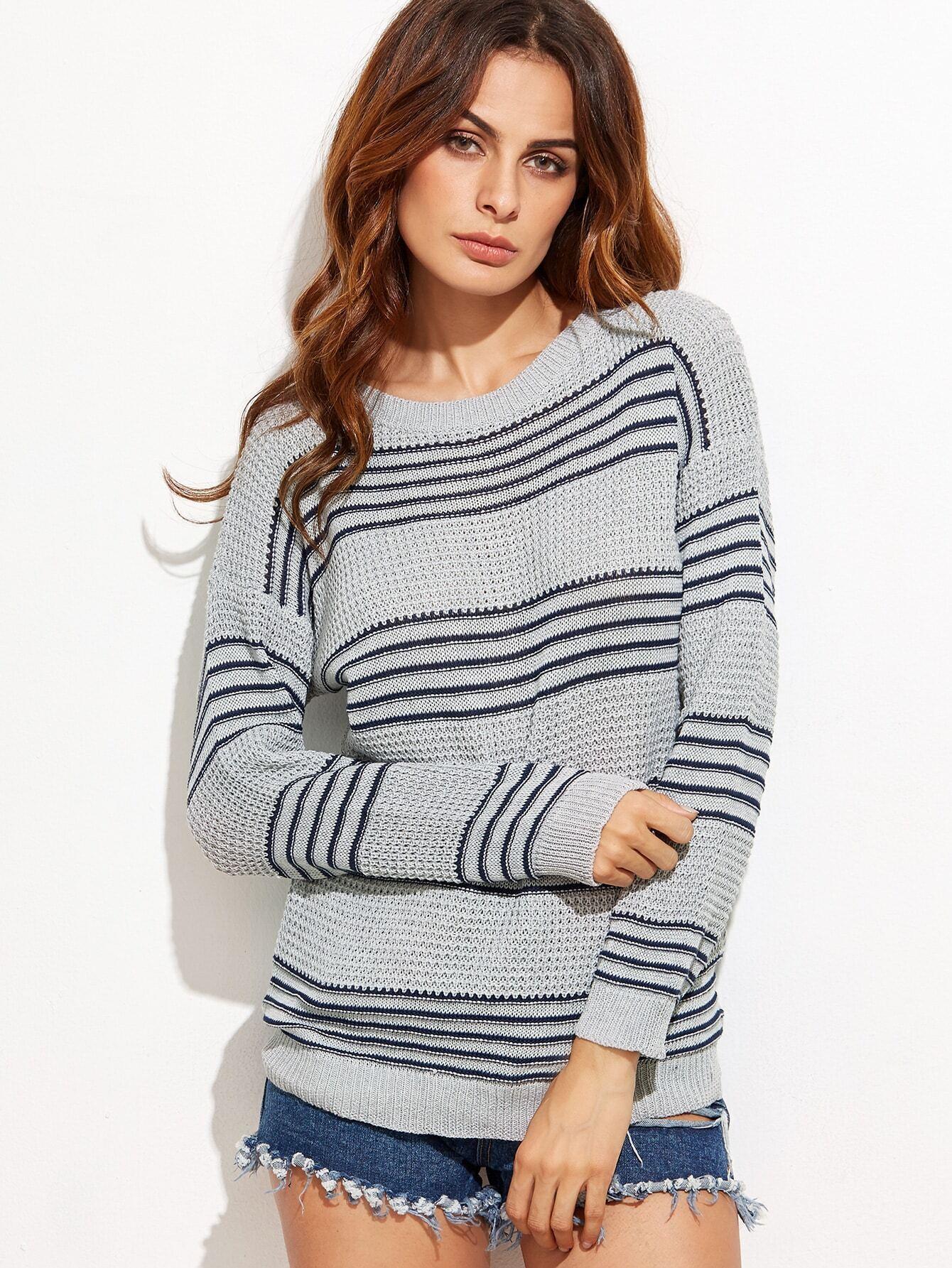 Grey Striped Drop Shoulder Seam Sweater