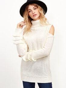 Jersey con hombros abiertos manga de vueltas - blanco