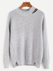 Jersey con abertura en cuello - gris
