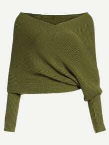 Jersey cruzado con hombros al aire - verde oliva