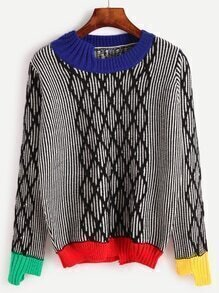 Contrast Trim Geometric Print Sweater
