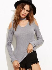 Grey Cutout Mock Neck Zipper Back Sweater