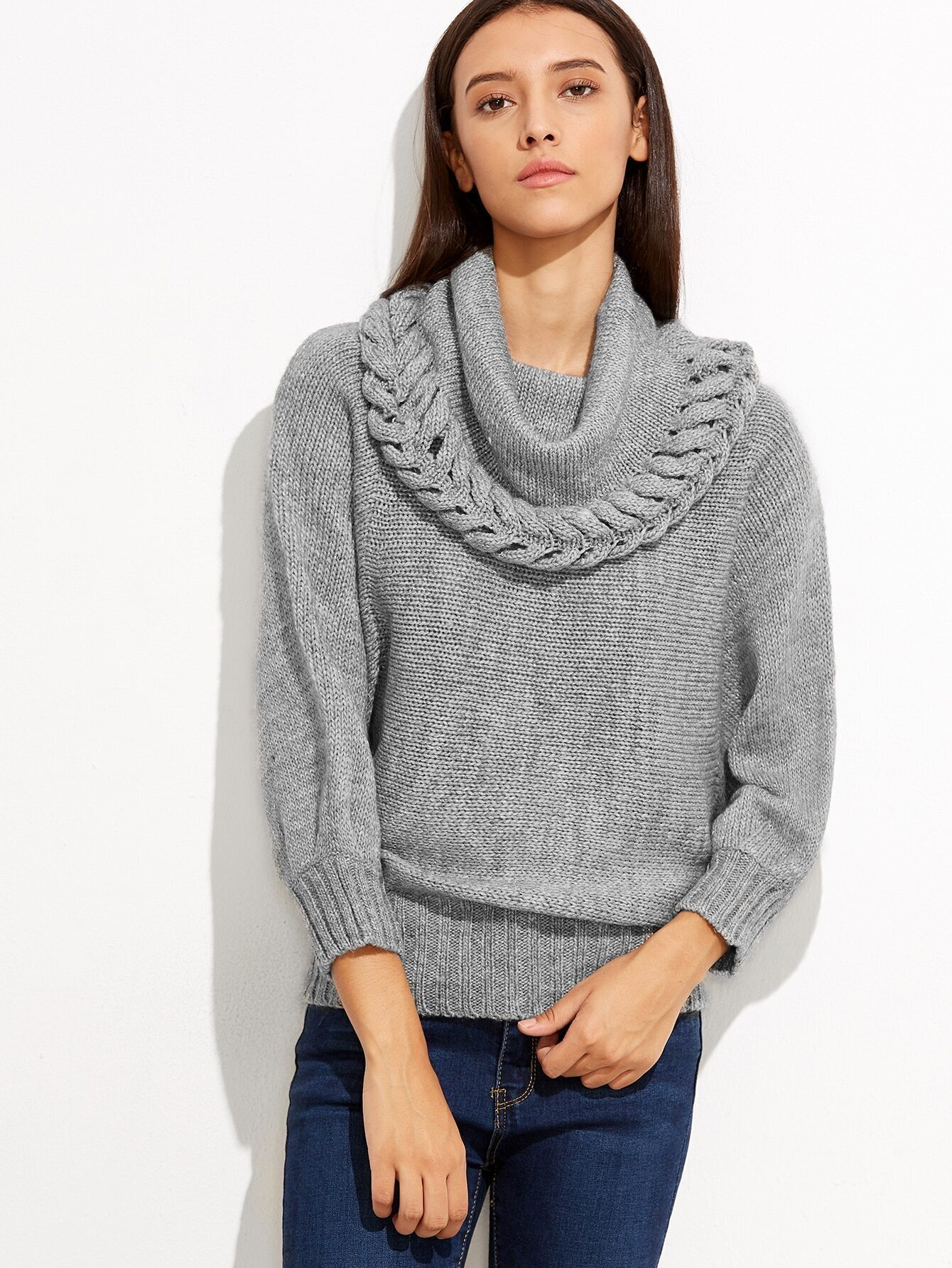 Grey Cowl Neck Ribbed Trim Loose Sweater