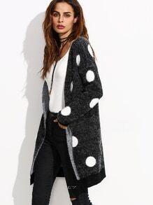 Black Polka Dot Open Front Long Sweater Coat