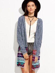 Geometric Tribal Design Hooded Cardigan
