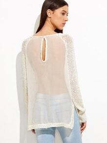 Jersey de malla con abertura en espalda - blanco