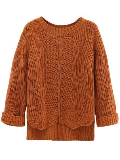Brown Cuffed Sleeve Dip Hem Textured Sweater
