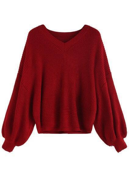 Red V Neck Dip Hem Seam Sweater