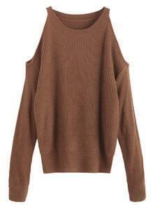 Jersey con hombros al aire - marrón