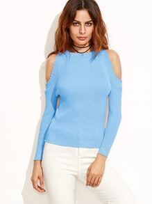 Light Blue Cold Shoulder Ribbed Sweater