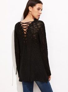 Black Lace Up Back Loose Knit Sweater