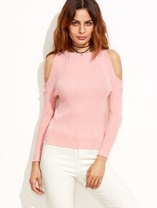 Pink Open Shoulder Ribbed Sweater