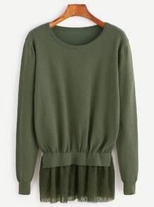 Jersey con ribete de malla con lunares - verde oliva