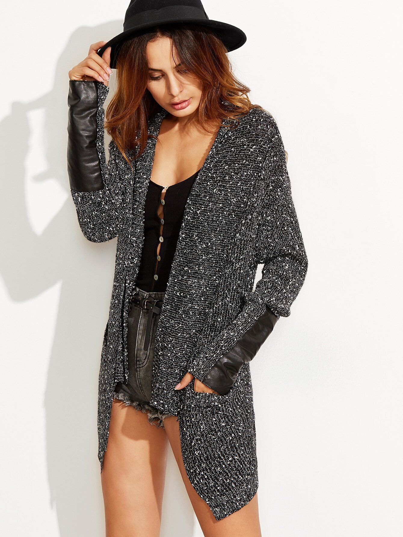 Black Shawl Collar Fleck Sweater Coat With Faux Leather Patch