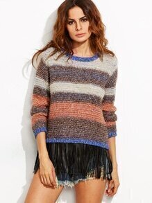 Multicolor Marled Knit Striped Pullover Sweater