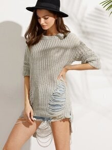 Grey Ripped Long Sleeve High Low Sweater