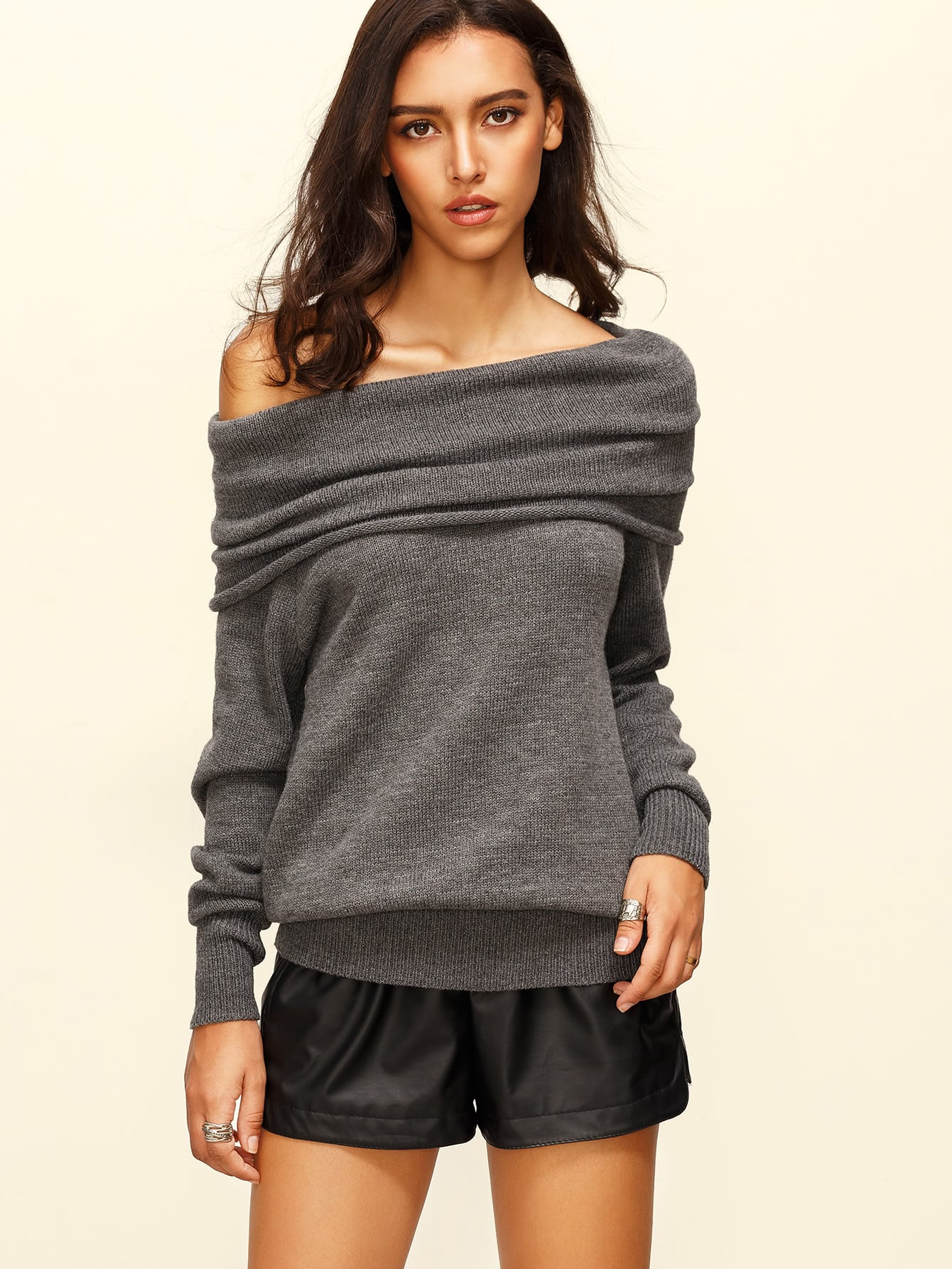 Grey Convertible Neck Long Sleeve Knitted T Shirt
