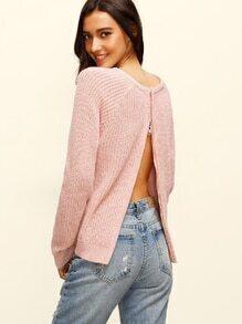 Jersey escote redondo cremallera abertura manga larga - rosa