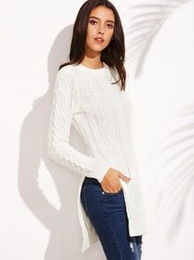 White Round Neck Split Side Long Sleeve Sweater