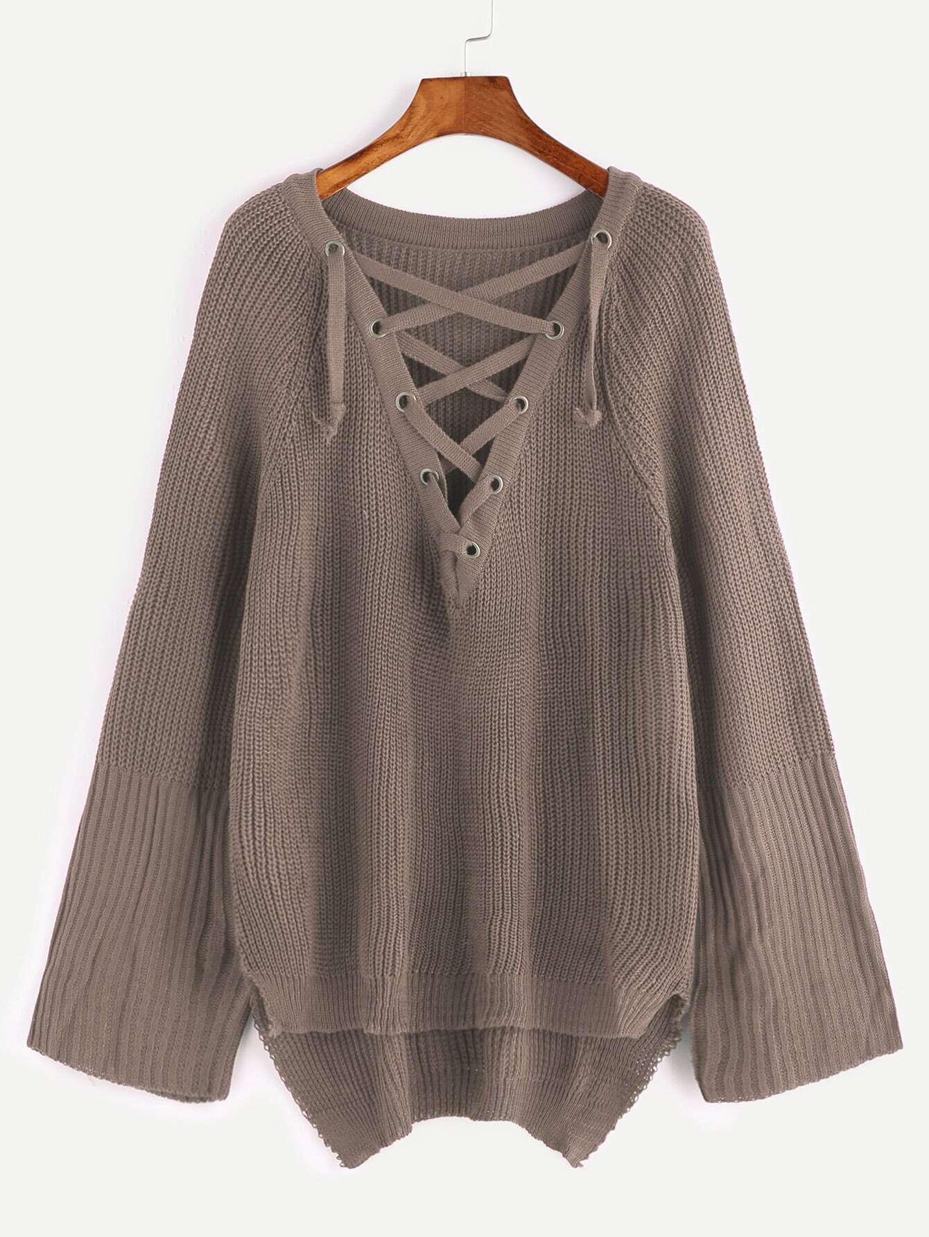 Khaki Eyelet Lace Up Slit Side High Low Sweater sweater161219301