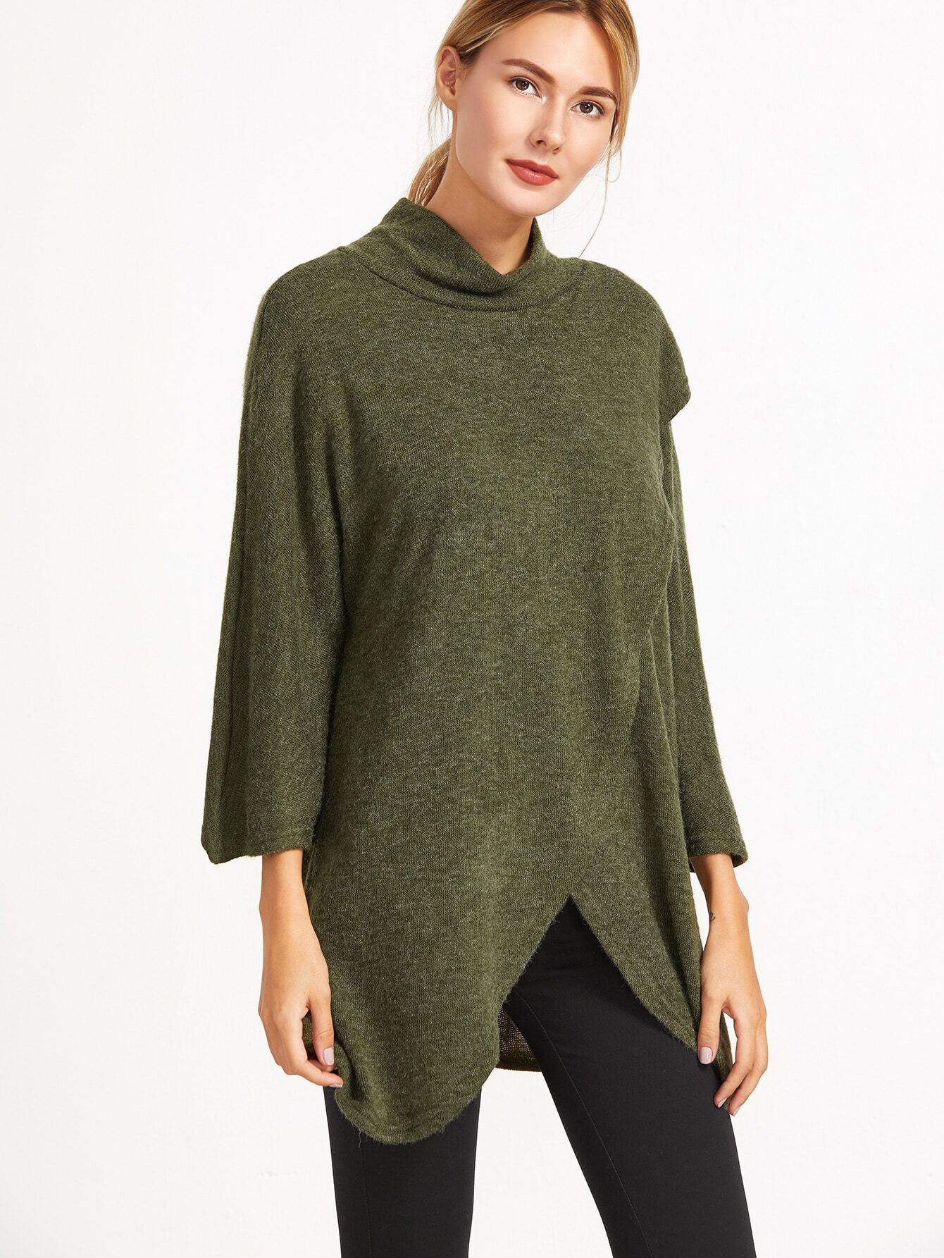 Army Green Cowl Neck Raglan Sleeve Wrap Front Sweater sweater161205301