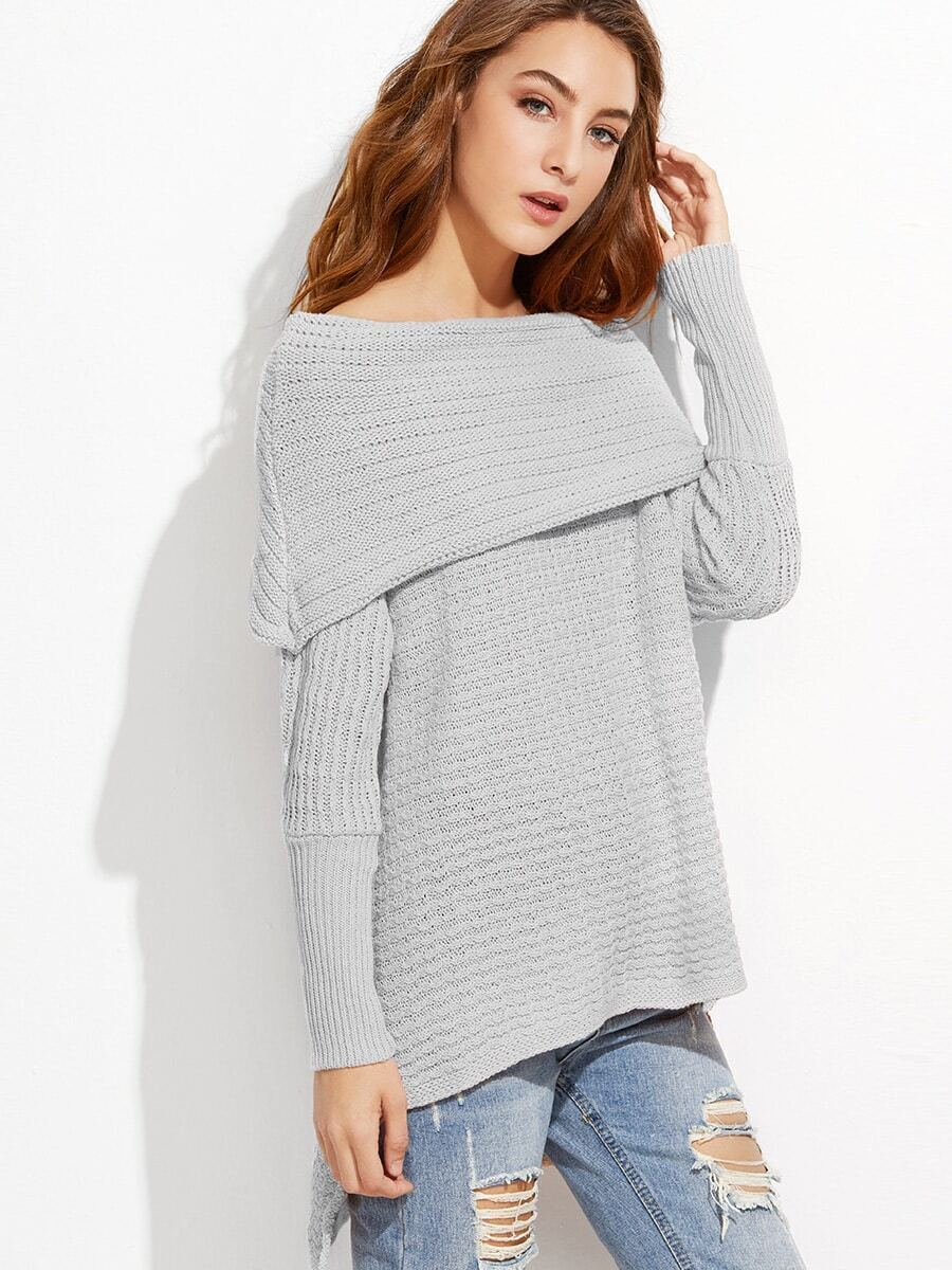 Grey Off The Shoulder High Low Foldover Sweater