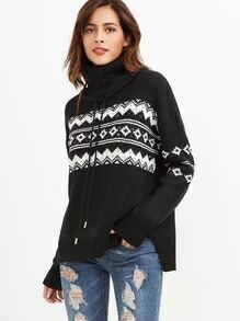 Black Geo Pattern Drawstring Turtleneck Sweater