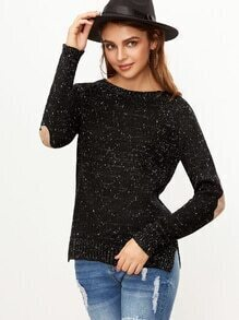 Black Side Slit Fleck Sweater With Elbow Patch Detail