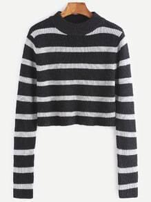 Jersey corto a rayas - negro y blanco