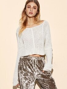 White Cable Knit Eyelet Crop Sweater