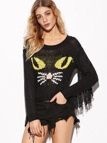 Jersey con estampado de gato y flecos - negro