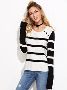 Black And White Striped Buttoned Neck Sweater