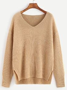 Apricot Marled Ribbed Knit Slit High Low Sweater