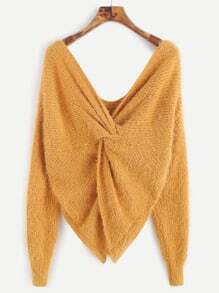 Yellow Double V Neck Knotted Back Fuzzy Sweater