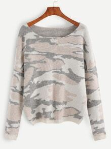 Multicolor Camo Pattern Drop Shoulder Sweater