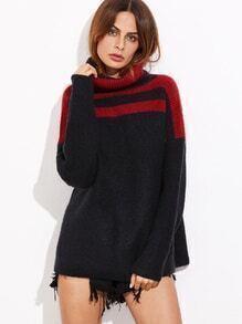Pull couleur bloc tricoté à nervures col roulé
